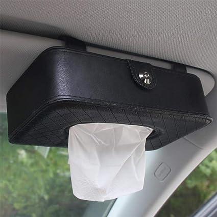Car Sun Visor Tissue Box Holder PU Leather Seat Back Hanging Pater Towel Case
