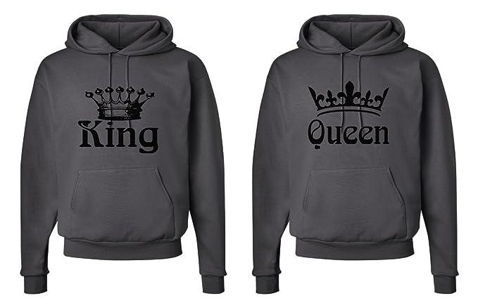 FASCIINO Matching His & Hers Couple Hooded Sweatshirt Set - King and Queen Crowns (King Shirt: Medium/Queen Shirt: Small Smokie Gray)