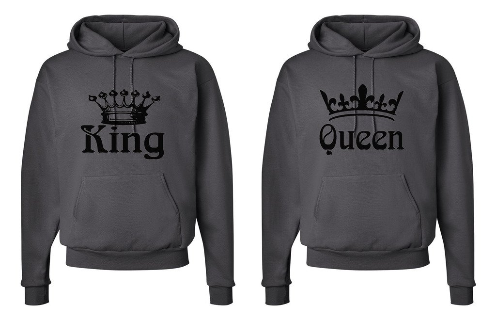 FASCIINO Matching His & Hers Couple Hooded Sweatshirt Set - King and Queen Crowns (King Shirt: XLarge/Queen Shirt: XLarge Smokie Gray)