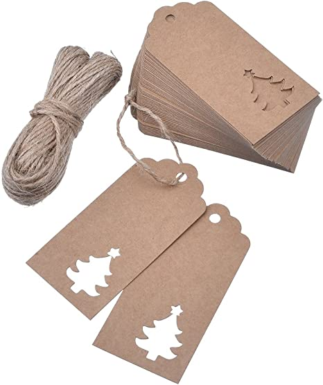 Brown Zealor 100 Pieces Kraft Paper Gift Tags Christmas Tree Design with Twines for Wedding Favor