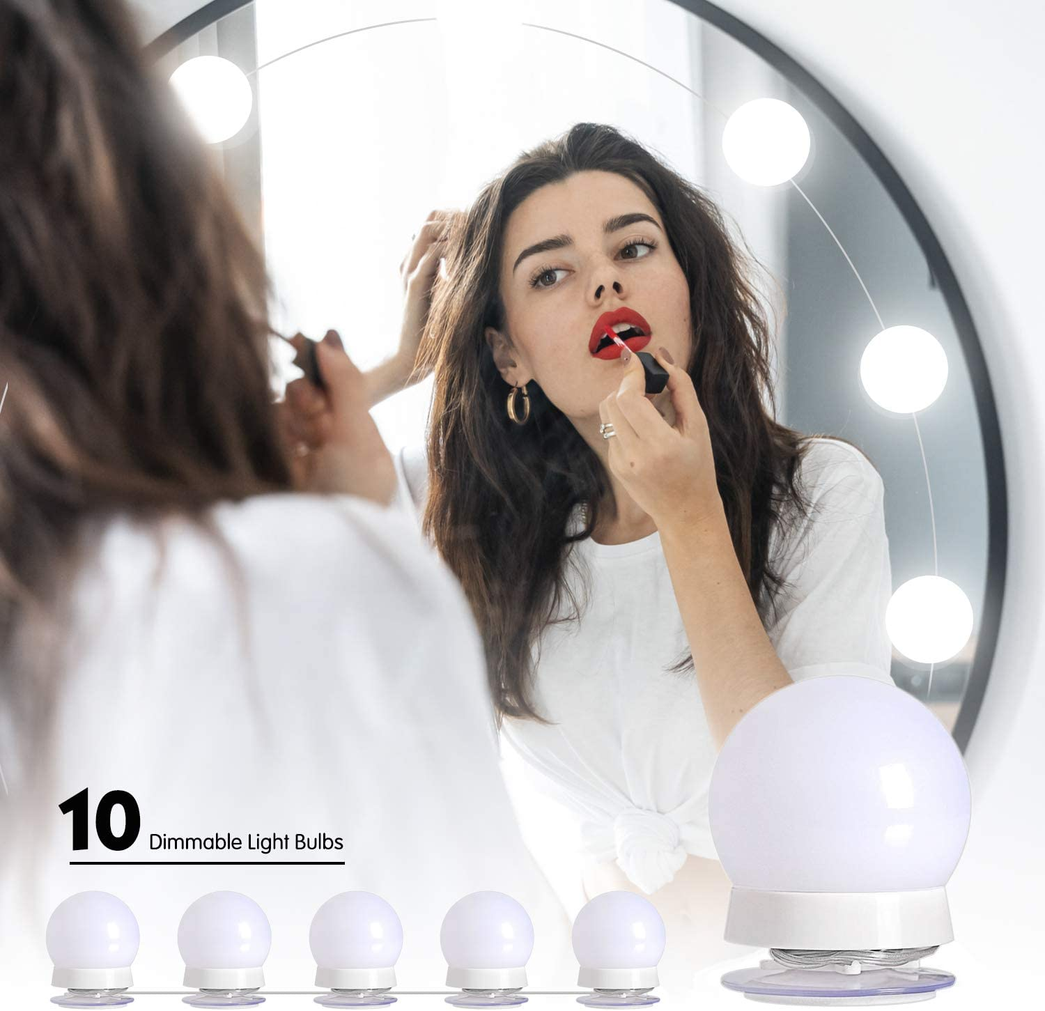 Upgraded Hollywood Style Vanity Mirror Lights Kit, 10 Dimmable LED Bulbs with 3 Color Modes, Best for Makeup Dressing Table Bathroom Dressing Room, Power Supply Plug in Lightings (Mirror Not Include): Home Improvement