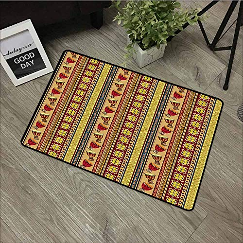 LOVEEO Funny Doormat,African Oriental Djembe Drums Music Culture in Africa Theme Geometric Chevrons Triangles,Easy Clean Rugs,31