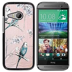 Paccase / SLIM PC / Aliminium Casa Carcasa Funda Case Cover para - Parrot Pink Teal Spring Branch Trees - HTC ONE MINI 2 / M8 MINI