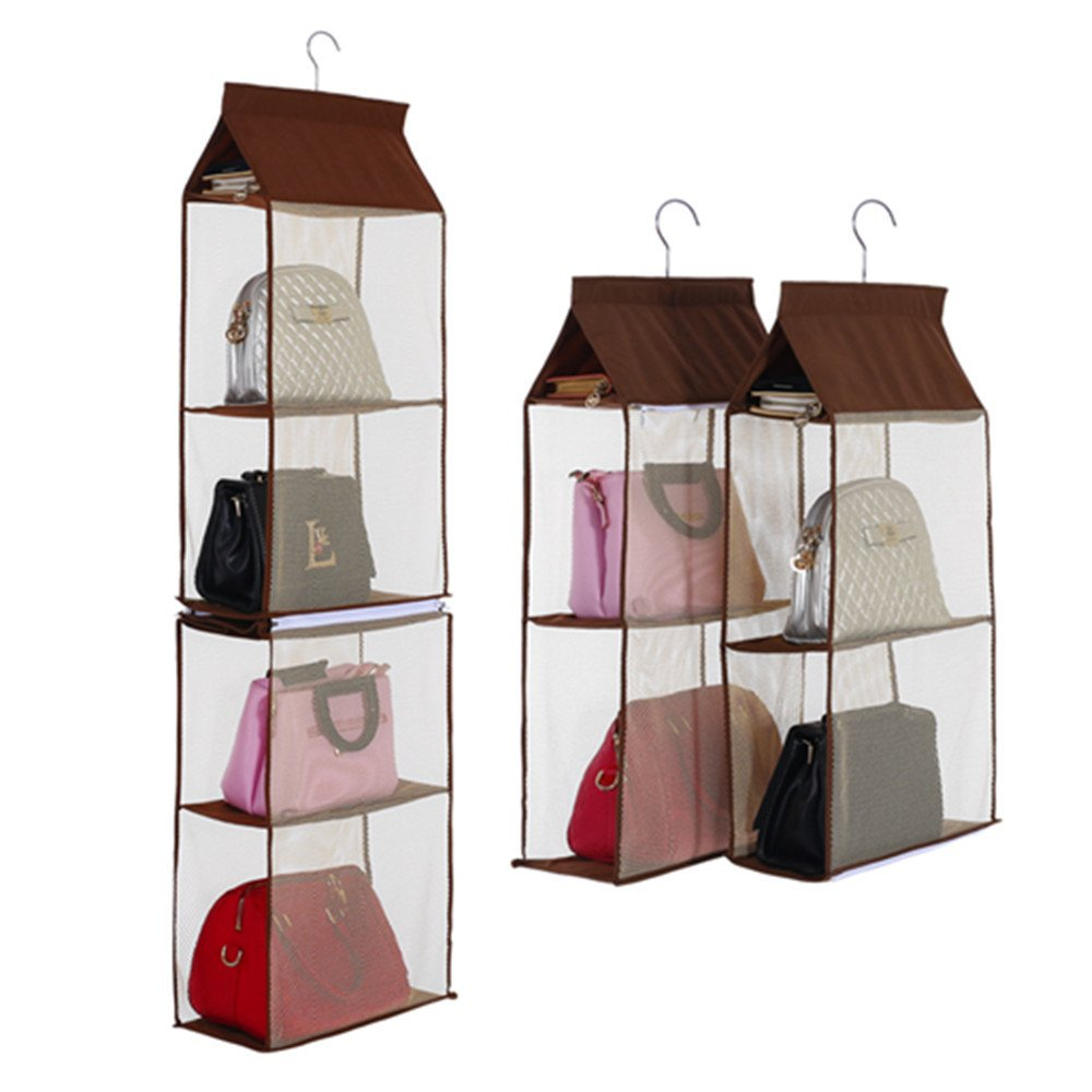 Hanging Storage Bag Women Handbags, YiMiky 4 Slot 2 in 1 Organizer Home Dustproof Detachable Tote Ladies Bags Clothing Foldable Sundry Transparent Wardrobe Closet Durable 5 Layer Dormitory(Coffee)