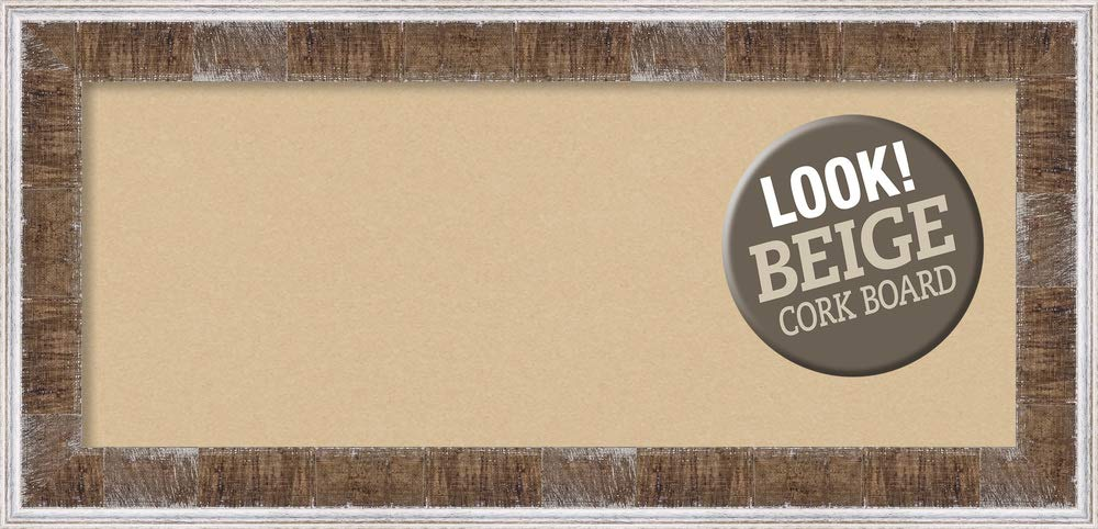 Amanti Art Tan Cork Farmhouse Brown Narrow Framed Bulletin Boards, 35 x 17,