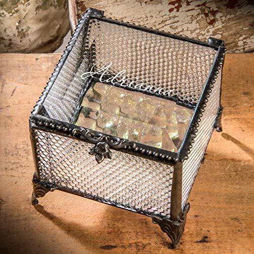 (J Devlin - Ellen Series - Personalized Clear Textured Stained Glass Box Keepsake Decorative Trinket Jewelry Gift Box 825 EB248)