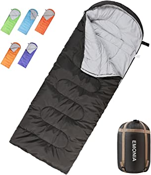 EMONIA Camping Sleeping Bag, 3 Season Waterproof Outdoor Hiking Backpacking Sleeping Bag Perfect for Traveling,Lightweight Portable Envelope Sleeping ...