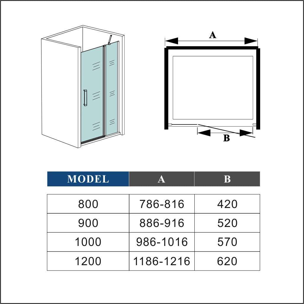 Mamparas de Ducha Frontal Puerta Transparente Abatible Perfil gris mate Cristal Templado 5mm Antical 100x185cm