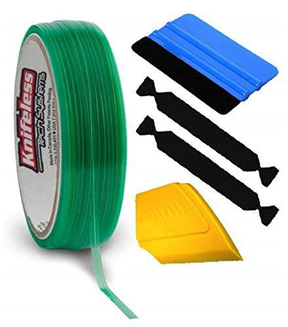 KNIFELESSFLT Knifeless Finish Line Vinyl Wrap Cutting Tape Roll for Pinstriping and Detailing (50m Roll w/Squeegee, Detailer & 2 Felts)