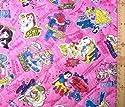 <Qキャラクター・キルティング生地>ディズニープリンセス (ラメグリッター付き・濃いピンク)#53の商品画像