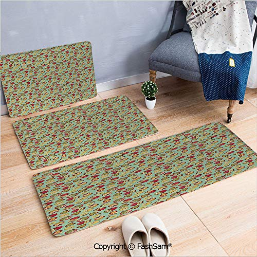 FashSam 3 Piece Non Slip Flannel Door Mat Cheerful Sweet Childhood Theme Stylized Ornate Birds Nostalgic Vintage Kids Pattern Indoor Carpet for Bath Kitchen(W15.7xL23.6 by W19.6xL31.5 by - Cast Light Ornate Six