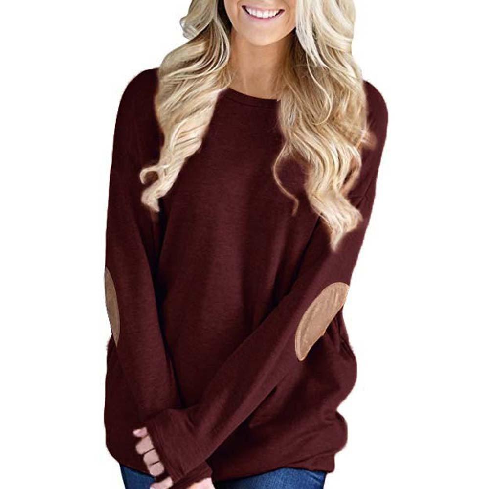 Zaidern Women Blouse Loose Long Sleeve Solid Shirts O-Neck Patchwork Bottom T-Shirt Blouse Tops Sweatshirts