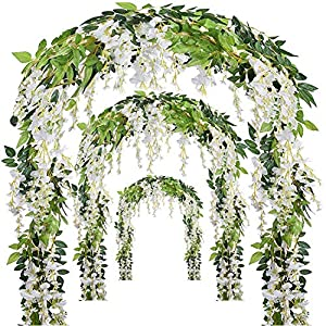 Miss Bloom Artificial Wisteria Vine - 12-Pack 3.6 Ft Spring Hanging Flowers Décor | Silk Plants Garlands for Sweet Home Kitchen Wall |Fake Plant Rattan for Outdoor Wedding Party Decorations (White) 82