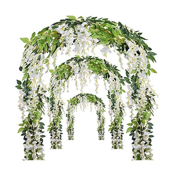Miss Bloom Artificial Wisteria Vine – 12-Pack 3.6 Ft Spring Hanging Flowers Décor | Silk Plants Garlands for Sweet Home Kitchen Wall |Fake Plant Rattan for Outdoor Wedding Party Decorations (White)