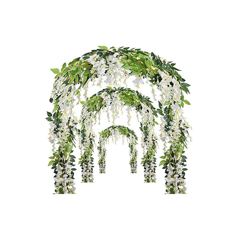 silk flower arrangements ms bloom artificial wisteria vine - 12-pack 3.6 ft spring hanging flowers décor, silk plants garlands for sweet home kitchen wall, fake plant rattan for outdoor wedding party desk decorations (white)