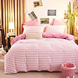 JUWENIN,1500 Thread Count Egyptian Quality Duvet Cover Set Full Queen Size, 3pc Luxury Soft (Full/Queen, Pink Stripe)