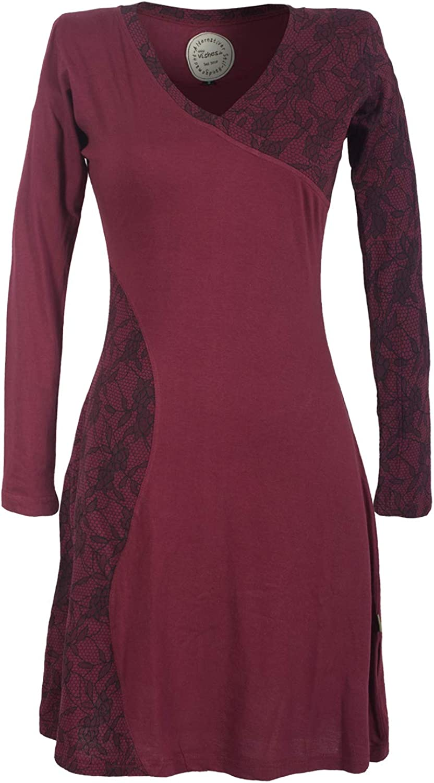 Vishes - Alternative Bekleidung - Asymmetrisches Damen Lagenlook Kleid Baumwolle mit Spitze Bedruckt