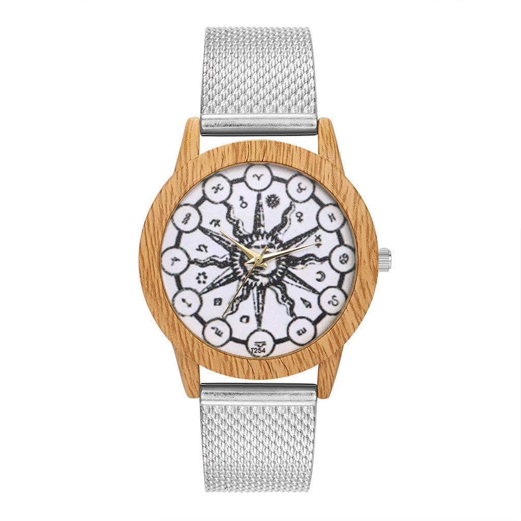Women Watches for Sale,Wooden Grain Leisure Retro Dial Silicone Strap Quartz Watch(Silver) by Woaills Watch