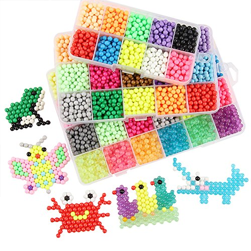 Fuse Beads Educational Toys For Kids - 15 Colour Water Sticky Beads with Whole Set of Accessories, Colorful Magic Beading 0.18-0.2 Inch (2200pcs), Creative Hand-eye Coordination Learning Toys (Pva Foam)