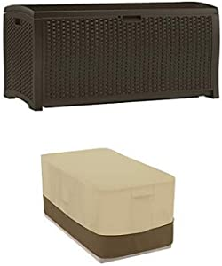 Suncast DBW9200 Mocha Resin Wicker Deck Box, 99-Gallon with Deck Box Cover - Durable and Water-Resistant Patio Furniture Cover
