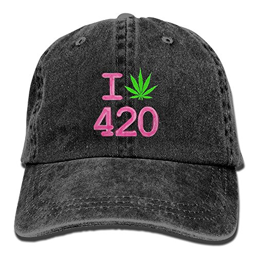 BEMYSELF Cotton Denim Cap I Love 420 Hemp Marijuana Unisex Denim Baseball Cap Hat