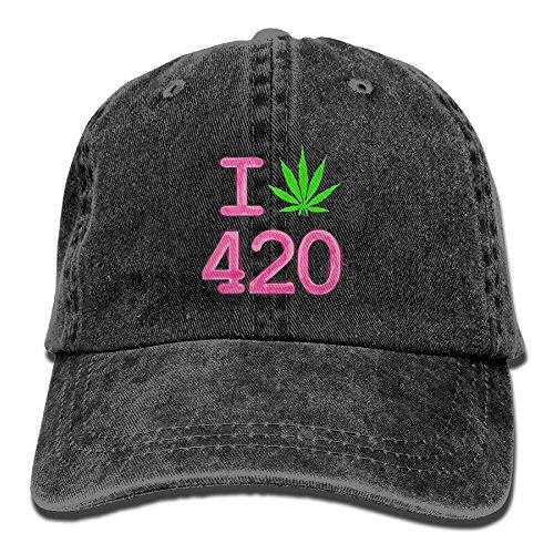 BEMYSELF Cotton Denim Cap I Love 420 Hemp Marijuana Unisex Denim Baseball Cap Hat