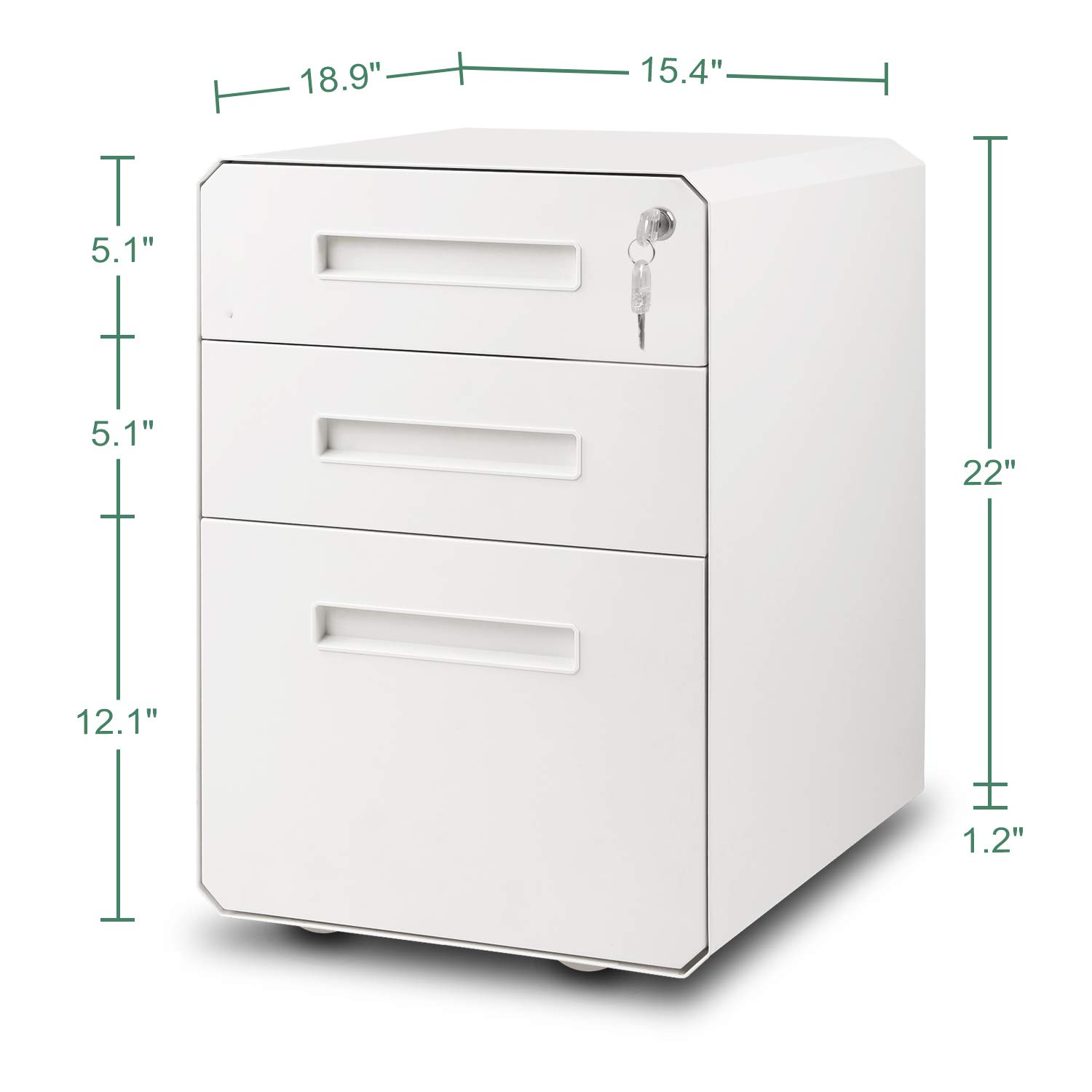 M&W 3 Drawer Mobile File Cabinet, Metal Locking Letter Filing Cabinet by M/W M & W (Image #6)