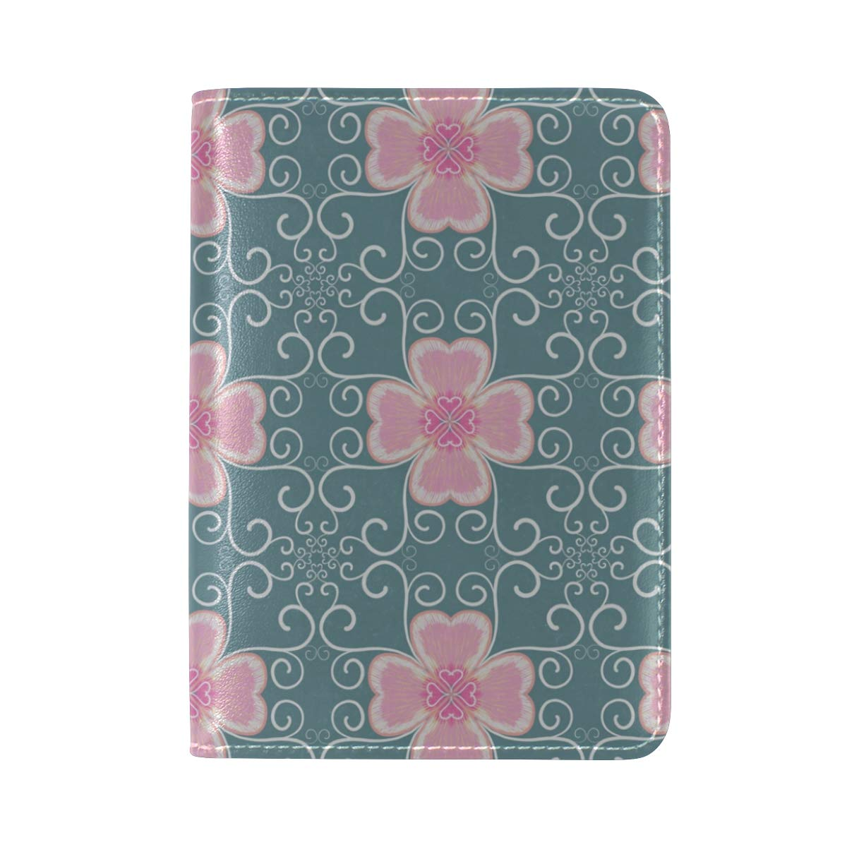 Pink Flower Seamless Patterns One Pocket Leather Passport Holder Cover Case Protector for Men Women Travel