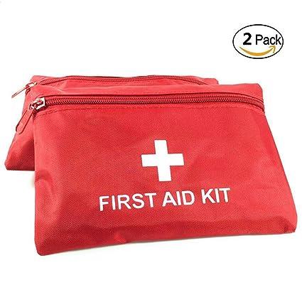 Lezed Botiquín de Primeros Auxilios Vacío Viaje Bolsa Médica Portátil Bolsa de Emergencia (2 Piezas, Rojo)