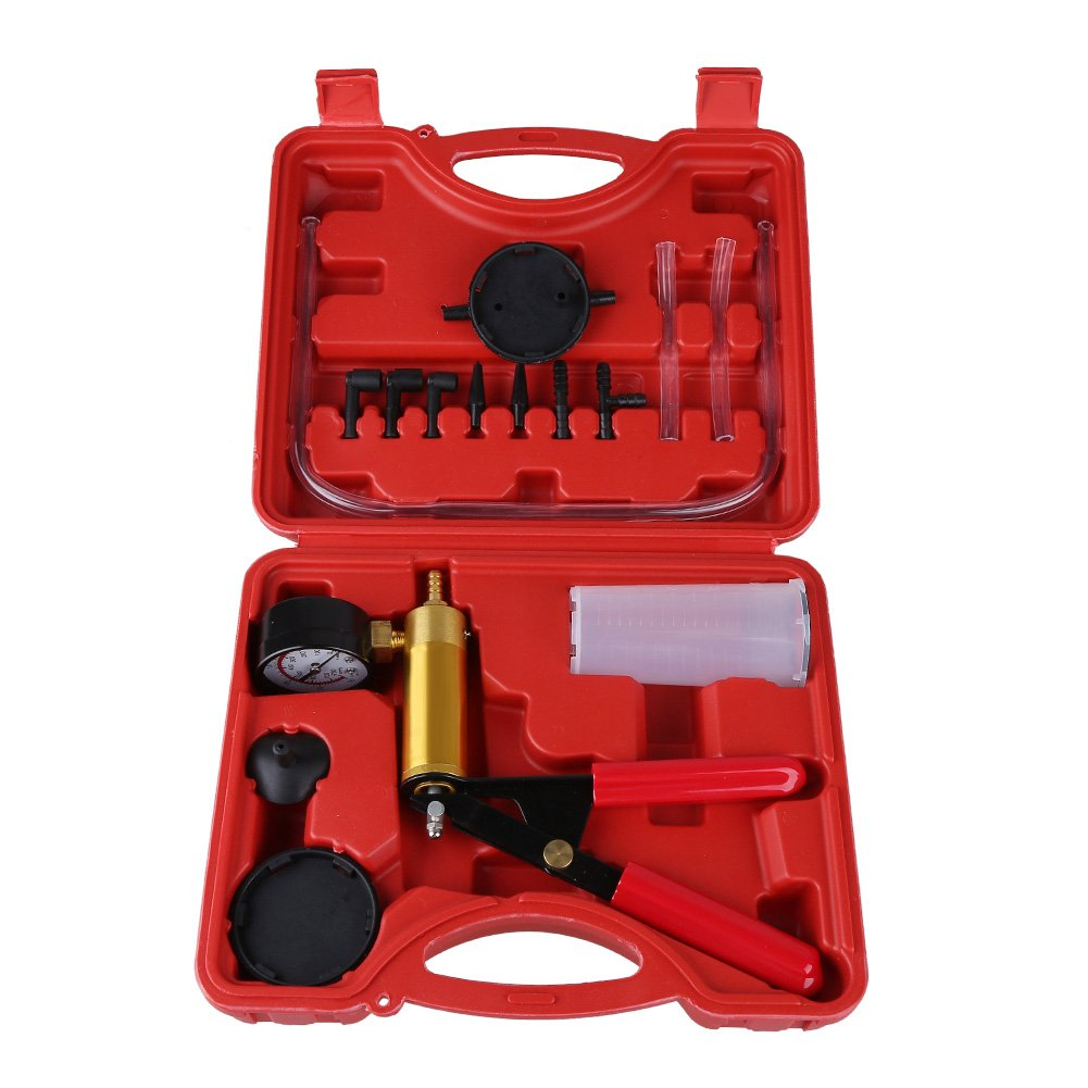 Hand Held Vacuum Pump Tester Set Car Brake Bleeder Kit for Automotive with Adapters and Case