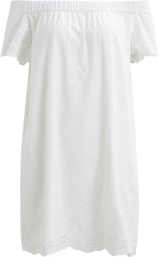 Vila Vestido ibicenco Blanco sin Hombros Clothes (L - Blanco): Amazon.es: Ropa y accesorios