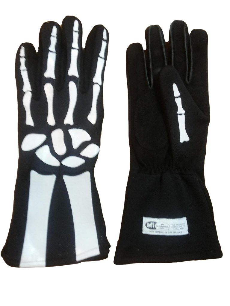 Cuircon - Auto Racing Nomex Skeleton Gloves - Black Glove with White Skeleton Print - Large CI-1545NX