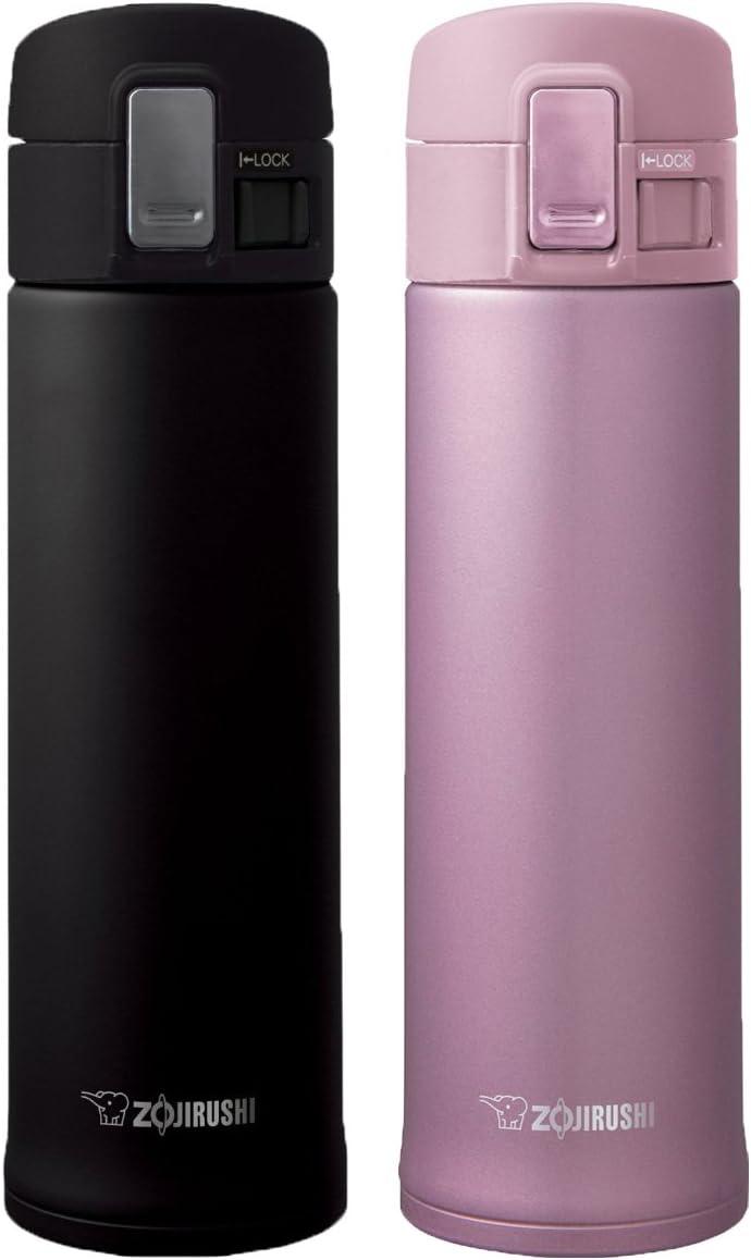 Zojirushi Set of 2 Stainless Mugs, KHE48 Black & KHE48 Lavender Pink, 16 oz