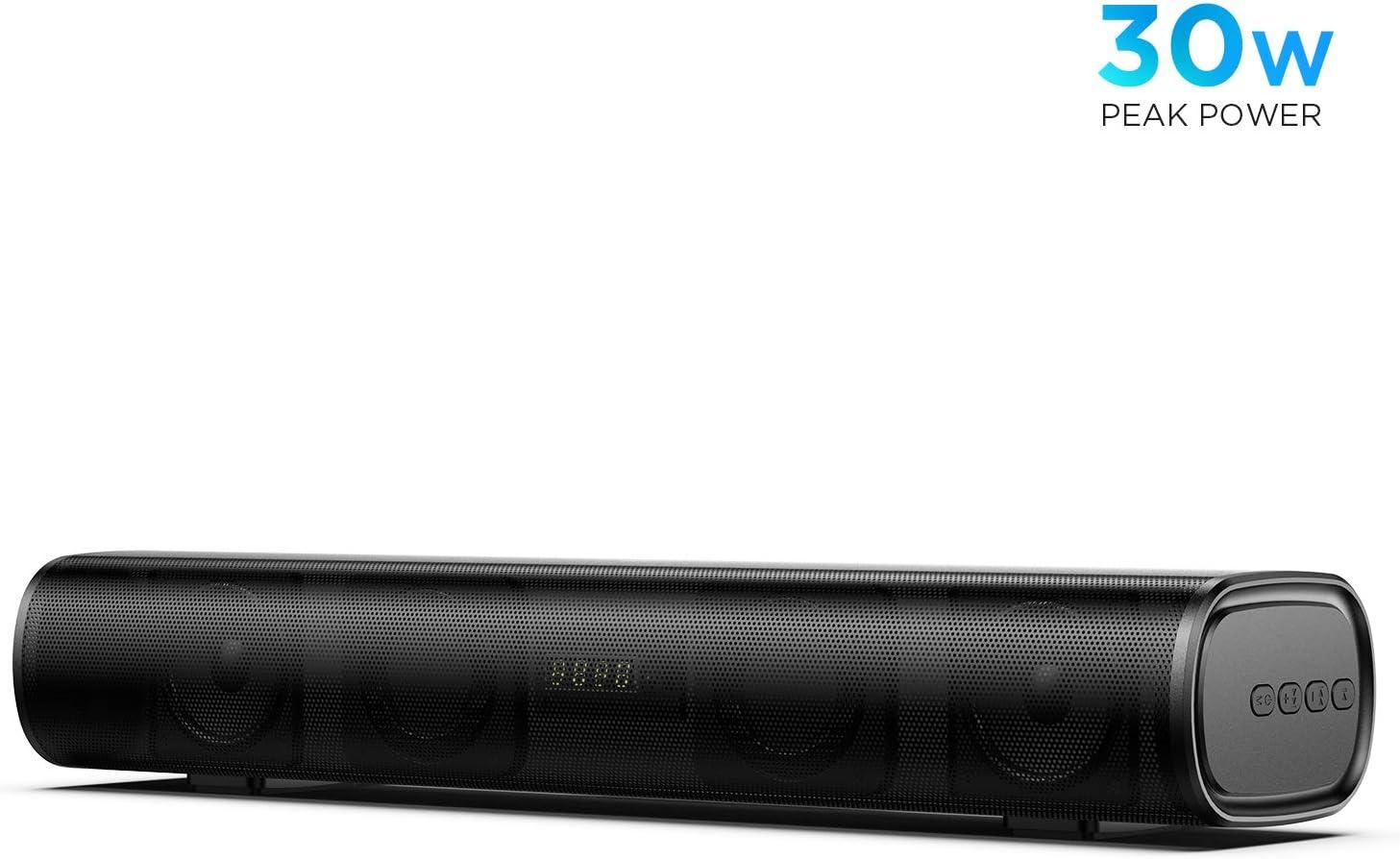 Mini Barra de Sonido 2.0 Canales para TV/PC, BOMAKER 30W Mini Soundbar Portátil Inalámbrico, Altavoces Bluetooth 5.0 con Control Remoto, Soporte Conexiones de Ópticos/USB/AUX