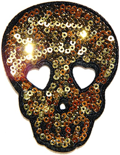 Gold Skull Mask Sparkly Sequin Shine Shiny Halloween Sequin Shine Shiny Patch Sew Iron on Embroidered Applique Craft Handmade Baby Kid Girl Women Sexy Lady Hip Hop Cloths DIY Costume]()