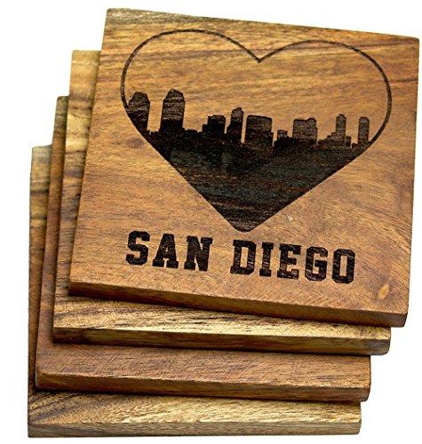 I Love San Diego California Skyline Coasters (Multiple Designs) - Engraved Acacia Wood Design - Set of Four (San Diego Coasters)