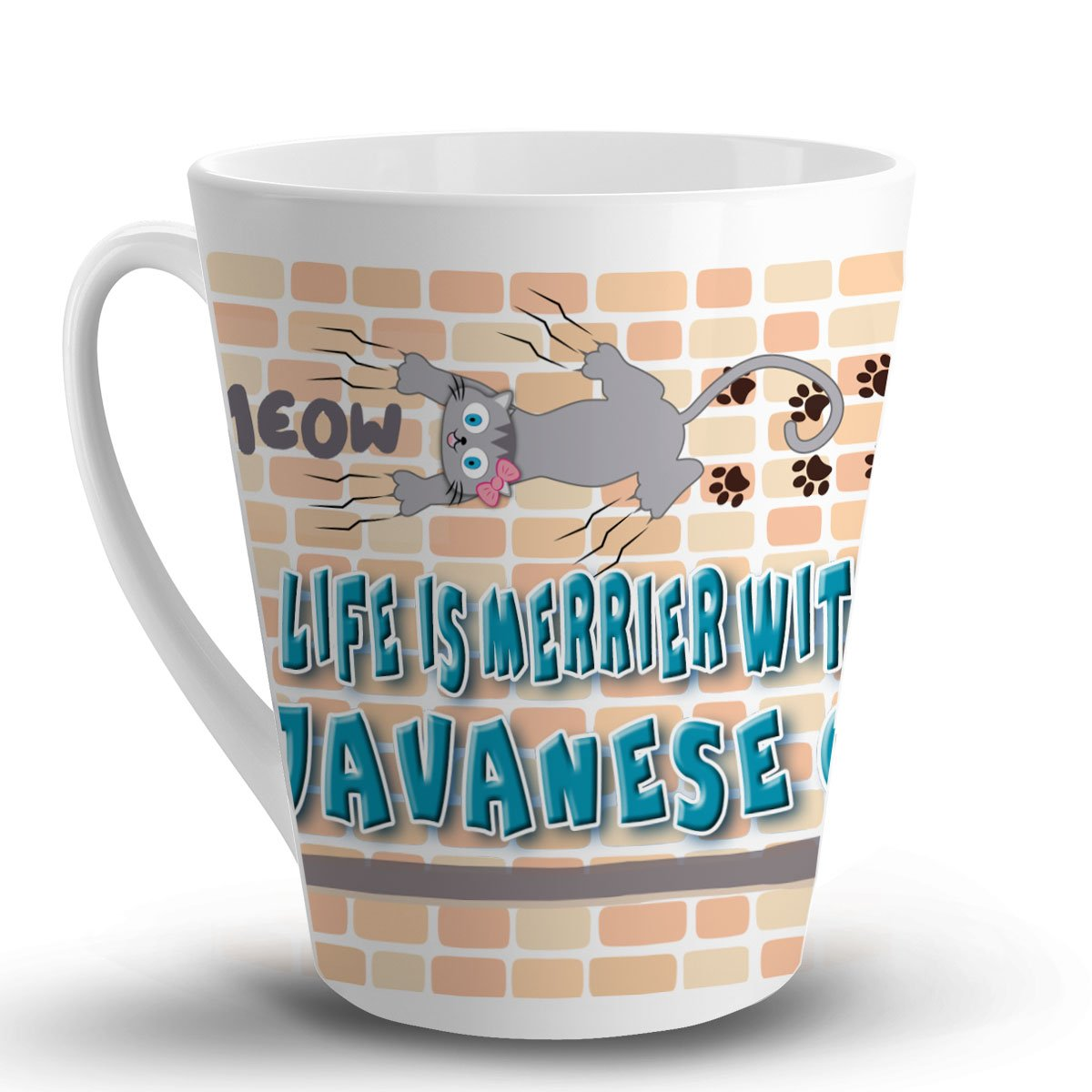 Amazon com makoroni life is merrier with a javanese cat cat cats 12 oz unique latte mug coffee cup kitchen dining