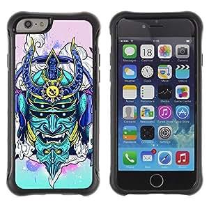 Hybrid Anti-Shock Defend Case for Apple iPhone 6 4.7 Inch / Neon Japanese Samurai Monster