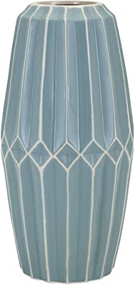 "CC Home Furnishings 14.5"" Large Turquoise Blue Asher Geometric Decorative Vase"