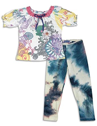 dd917de72934 Truly Me by Sara Sara - Little Girls' Short Sleeve Pant Set, Multi 26411