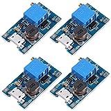 Icstation MT3608 Mico USB DC Voltage Regulator Step Up Boost Converter Power Supply Module 2V-24V to 5V-28V 2A (Pack of 4)
