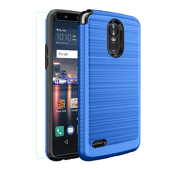 official photos 882a9 6a9cf LG Stylo 3 Case LG Stylo 3 Plus Case with Tempered Glass Screen Protector,  Plastic TPU Full-Body Hybrid Shockproof for LS777-Blue