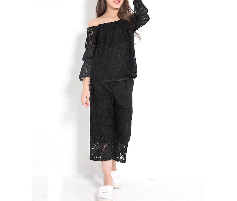 Zcaosma Teenage Girls Lace Sets Off The Shoulder Shirts Big Leg Pants Two-Piece,Black,8 by Zcaosma (Image #4)