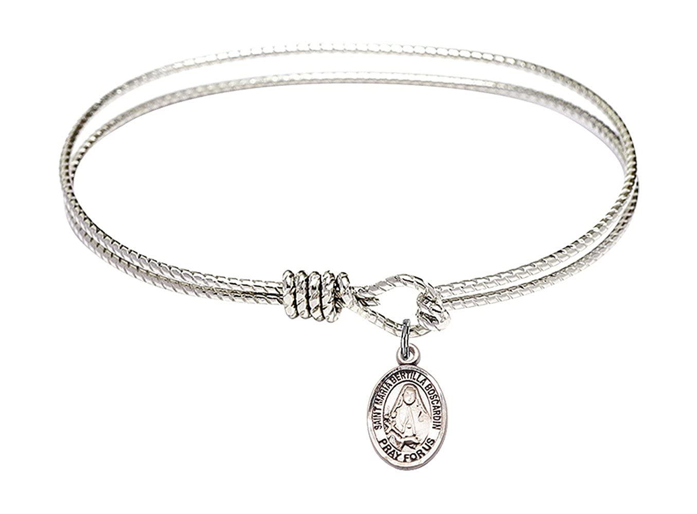 Maria Bertilla Boscardin charm. 7 1//4 inch Oval Eye Hook Bangle Bracelet with a St