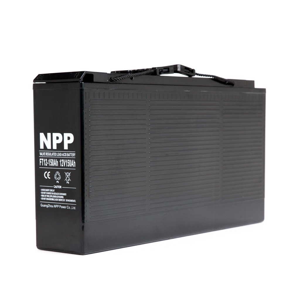 NPP 12V 150 Amp FT12 150Ah Front Access Telecom Deep Cycle AGM Battery With Button Style Terminals