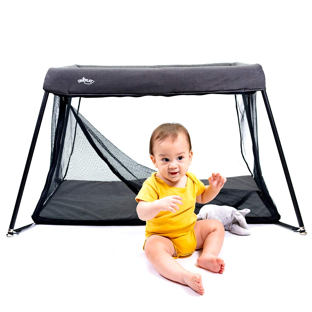 UNiPlay Portable Lightweight Baby Playpen Playard Travel Crib Pack 'N Play with Side Zipper Door and Washable Mattress