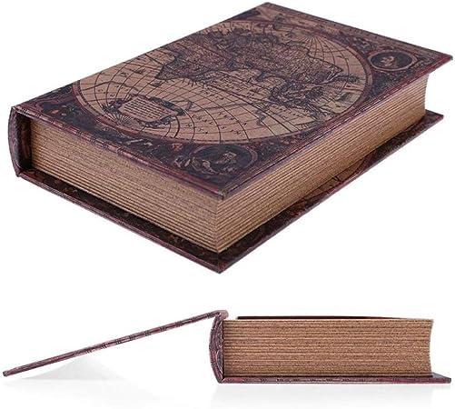 CCEKD Caja de Madera Caja de Almacenamiento de Madera Estilo Europeo Retro Mapa del Mundo Seguridad Caja Fuerte Libro Dinero en Efectivo Caja de Organizador de Joyas, Marrón, S: Amazon.es: Hogar