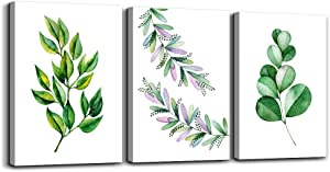 green leaves leaf plant Watercolor painting kitchen wall painting Canvas Prints Wall Art for Living Room Wall Artworks Bedroom Decoration, 12x16 inch/piece, 3 Panels Home bathroom Wall decor posters
