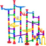 Lolo Toys Marble Run - 106 Pieces (90 Translucent Pieces + 16 Glass Marbles), STEM Learning Toy for Kids Age 4 5 6 7+, Educational Building Maze, Marble Race Track IQ Builder, Outdoor / Indoor Game
