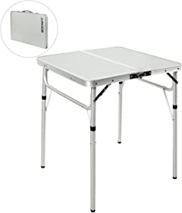 REDCAMP Folding Camping Table Portable Adjustable Height Lightweight Aluminum Folding Table for Outdoor Picnic Cooking, White 2/3/4 Foot